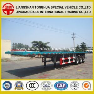 Flat Bed 40FT Container Transport Semi Trailer pictures & photos