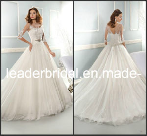 3/4 Sleeves Wedding Dress Round Bridal Ball Gown W13909 pictures & photos