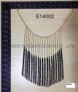 Special Style Thin Chain with Black Tassel Necklace for Ladies