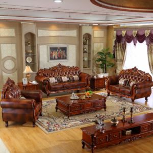 Leather Sofa with Table Cabinets for Living Room Furniture