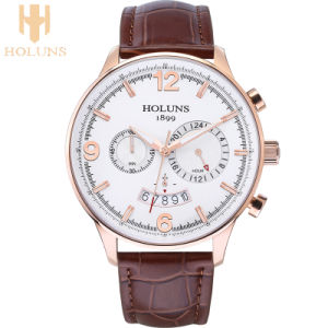 Large Dial Casual Leather Quartz Mens Watch Multifunction Business Waterproof Special Sport Men Watches pictures & photos