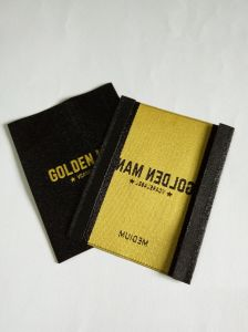 Black Base and Yellow Wording Design Garment Main Woven Label pictures & photos