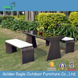 Rattan Garden Bench Set with Cushion pictures & photos
