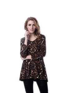 Lady Long Sleeve Tunic Leopard Printed Loose Blouse pictures & photos