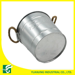 Galvanized Metal Pot with Embossing in Rope Handle for Gardening pictures & photos