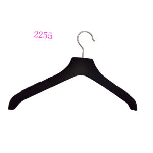 Wholesale Custom No Slip Black Flocked Clothes Hanger pictures & photos