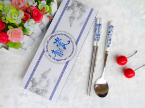 Ceramic Handle Stainless Steel Spoon and Chopsticks Cutlery Set pictures & photos