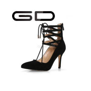 Factory Customize Long Shoelace Pointed Toe Thin Middle Heel Sandals Shoes pictures & photos