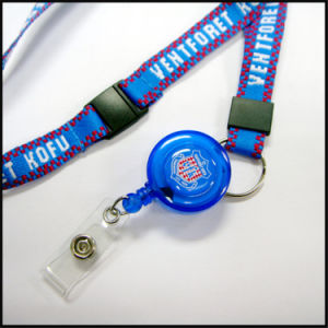 Retractable PVC Name/ID Card Badge Reel Holder Custom Lanyard with ID Holder (NLC007) pictures & photos