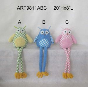 Green Blue Pink Owl Decoration Long Legged Sitter Easter pictures & photos