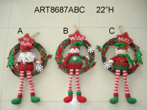 "22""H Santa, Snowman and Elf Christmas Decoration Wreath, 3 Asst pictures & photos"