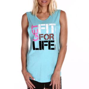 Womens Light Blue Running Tank Top, Fitness Singlet (A842)