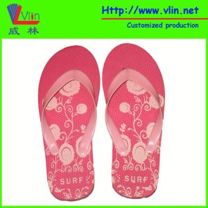 Pink Ladies Rubber/PE Flip Flops with Printing Flower Design pictures & photos