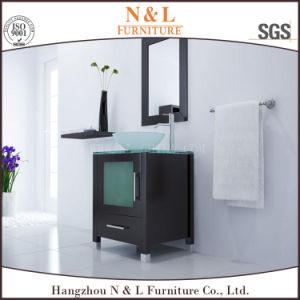 N&L Bathroom Furniture Oak Bathroom Vanity with Glass Wash Basin pictures & photos