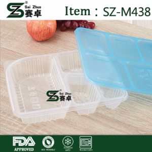 Rectangular 4 Compartment Disposable PP Material Food Container pictures & photos