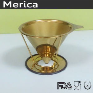 Stainless Steel Paperless Golden Pour Over Coffee Filter pictures & photos