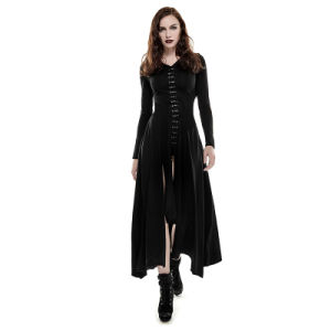 Q-290 Punk Rave Black Gothic Knit Skinny Long Dress pictures & photos