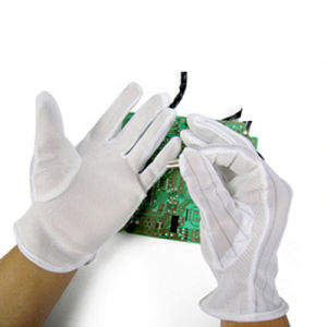 ESD Stripped Cleanroom Antistatic PVC Dotted Gloves pictures & photos