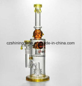 Glass Smoking Water Pipe Pink Color with Inner Pink Color pictures & photos