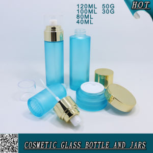 Light Blue Color Empty Frosted Glass Bottle and Jar Cosmetic pictures & photos
