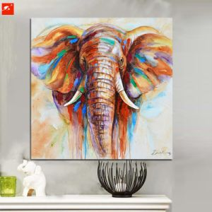 Wildlife Animal Colorful Elephant Canvas Oil Painting pictures & photos