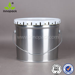 3.5 Gallon Cutom Round Tin Plate Paint Metal Tin Bucket with Flower Edge Lid and Metal Handle pictures & photos