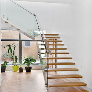 L Shape Staircase with One Side Beam Invisible pictures & photos