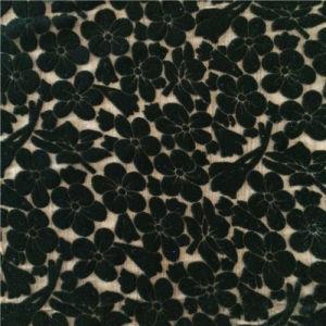 Plain Dye Burn out Silk Velvet in Small Flower Pattern pictures & photos