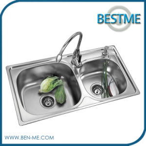 Double Sink Stainless Stain Kitchen Sink (BS-971) pictures & photos