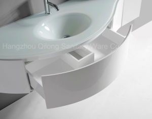 Cruved PVC Waterproof Bathroom Cabinet with Glass Basin pictures & photos