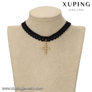 43697 Fashion Gold Plated CZ Cross Black Choker Necklace pictures & photos