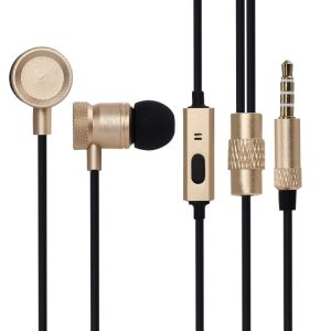 Wholesale Mobile Phone Handsfree MP3 Stereo Metal Silver Gold Earphone with Microphone for iPhone pictures & photos