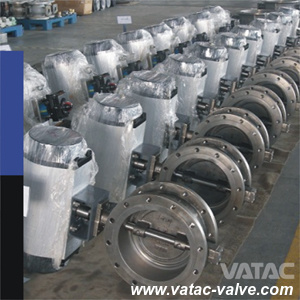 Stainless Steel Ss304/Ss316/F304/F316 Stem/Body/Seat Double Flanged Butterfly Valve pictures & photos