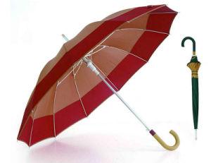 12 Ribs Windproof Fiberglass Wooden Shaft Border Umbrella (YS-SM25123517R) pictures & photos