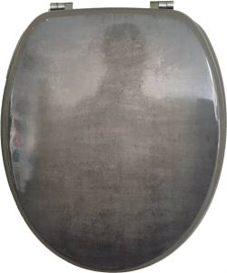 Shinning Gray Printing Moulded Wood Toilet Seat pictures & photos