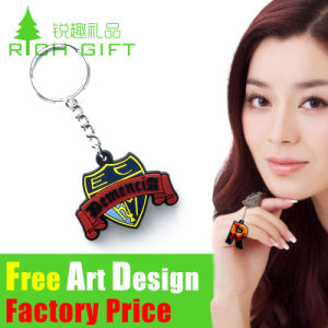 Factory Custom Zinc Alloy/Leather/PVC Keychain with Metal Ring pictures & photos