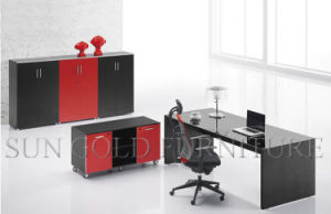 Contemporary Design Red and Black Modern Executive Office Desk with Vice Cabinet (SZ-ODL331) pictures & photos