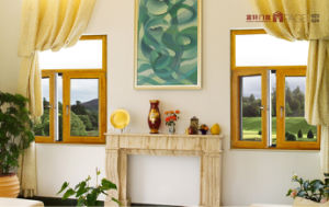 Aluminium Wooden Color Casement Window for Bedroom with Decoration Glass pictures & photos
