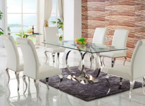 Tempered Glass Dining Table Set with Chair for Home (SDT-006) pictures & photos