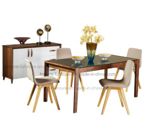 Solid Wood Dining Table with Tempered Glass Top (Camel 601) pictures & photos