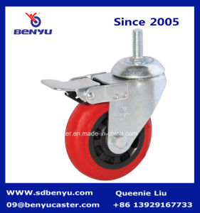 Swivel Stem Caster with Red Polyurethane Wheel & Side Lock Brake pictures & photos