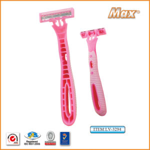Triple Blade Stainless Steel Blade Disposable Shaving Razor (LV-3294) pictures & photos