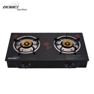 Good Quality Black Tempered Glass Brass Burner Cap LPG Gas Cookers