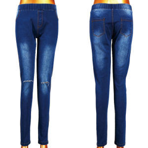 Yiwu Hot Lady Woven Cut Jeans