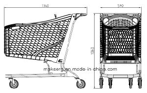 Eco Friendly Plastic Shopping Trolley Cart Coin Lock 180L 220L pictures & photos
