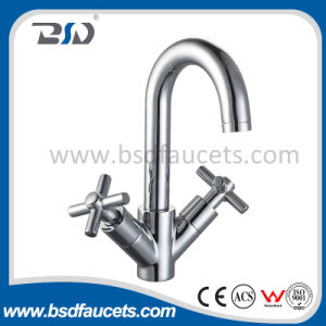 Twin Lever Swivel Spout Chrome Faucet Kitchen Sink Basin Mixer pictures & photos