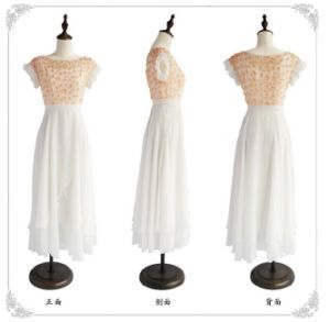 D1195 Boutique Falbala White Romantic Chiffon Dress with Solid Flower pictures & photos
