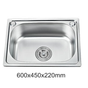 Economic Ss201 Stainless Steel Single Bowl One Piece Kitchen Sink (YX6045)