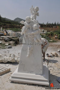 Marble Angels Monument with Cross for Cemetery and Church pictures & photos