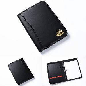 Customized Black Leather Portfolio with Metal Badge (BS-020) pictures & photos